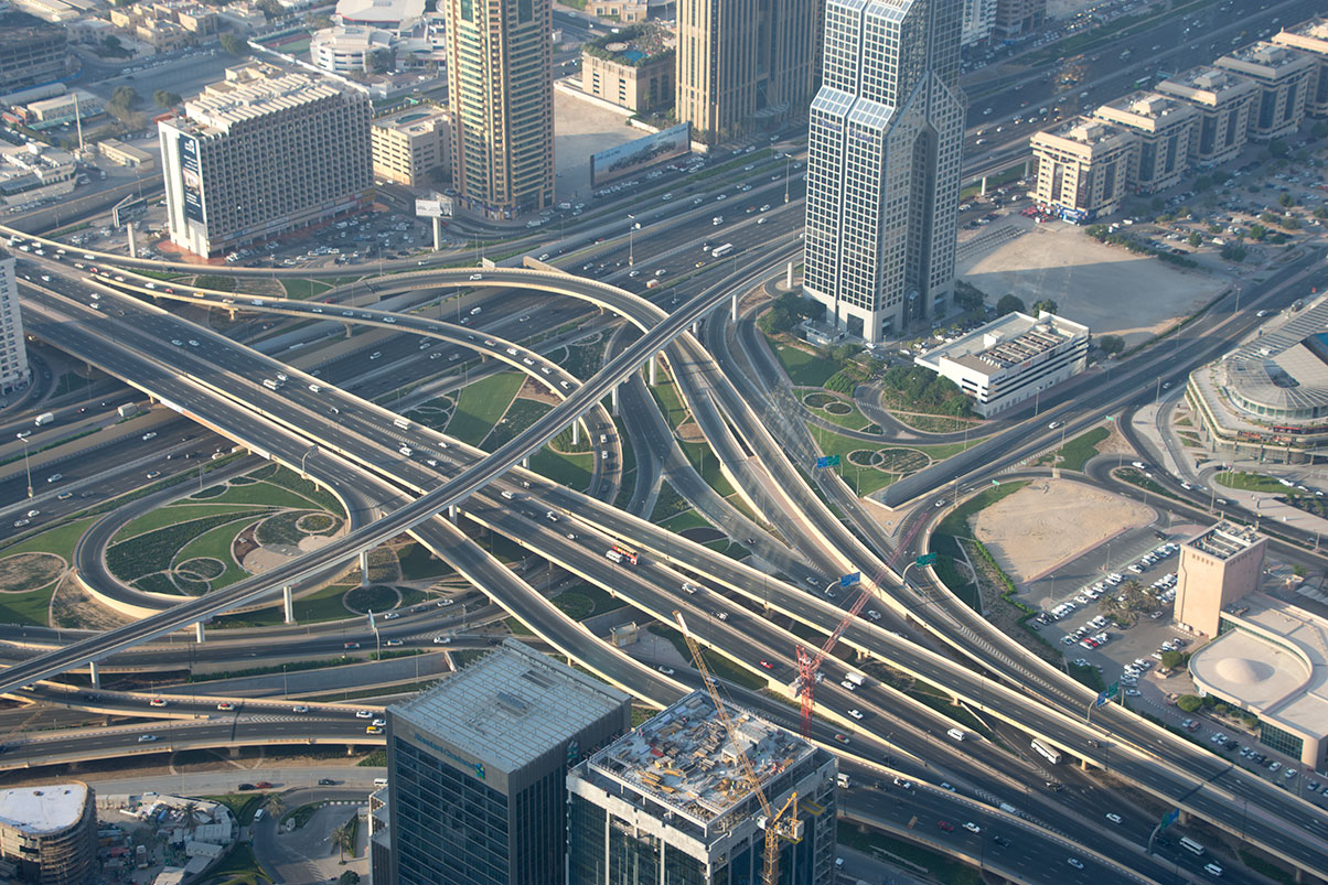 Fish View of Dubai Roads from Burj Khalifa