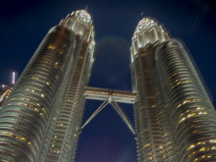 Twin tower at night