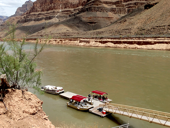 Pontoon boat ride in Colorado river